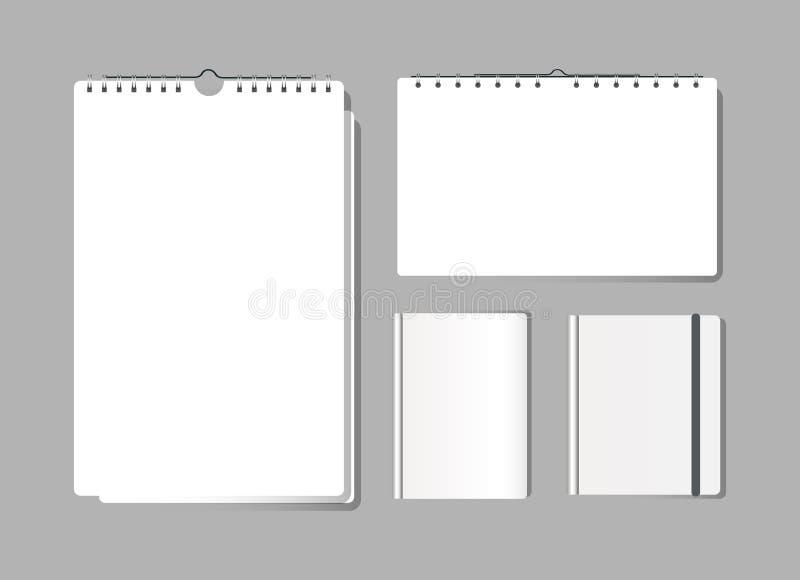 Szablon, mockup biurka realistyczny papierowy kalendarz, notatniki i notepad, ilustracji