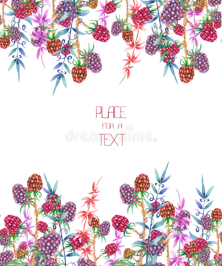Szablon pocztówka, dekoracyjny miejsce dla teksta z akwarela lasowymi kwiecistymi elementami: jagody i gałąź ilustracja wektor