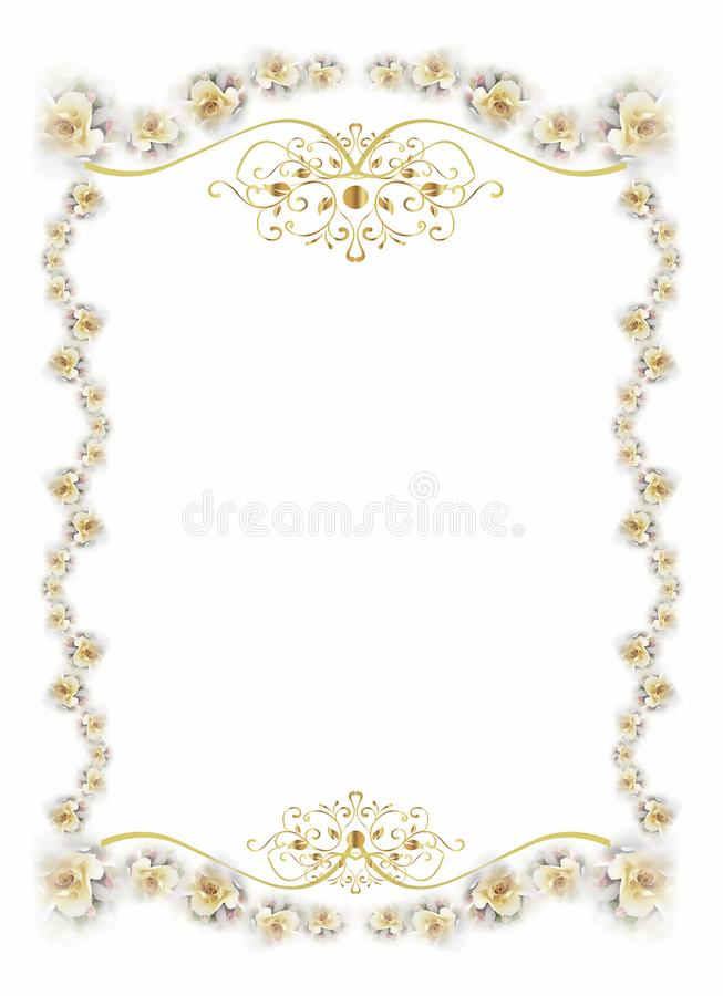 Szablon prezent lub ślubna karta z kwiatami i złoto dekoracjami fotografia stock