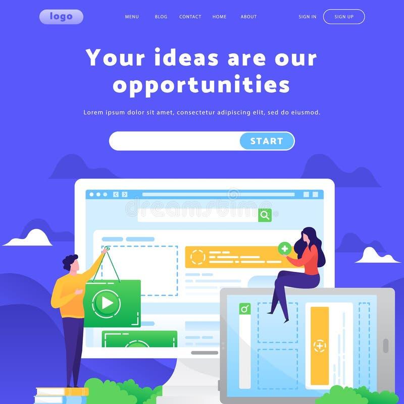 Szablon projektu wektorowej witryny sieci Web Marketing zawartości wideo Pojęcia strony docelowej dotyczące rozwoju mobilnego wit ilustracja wektor