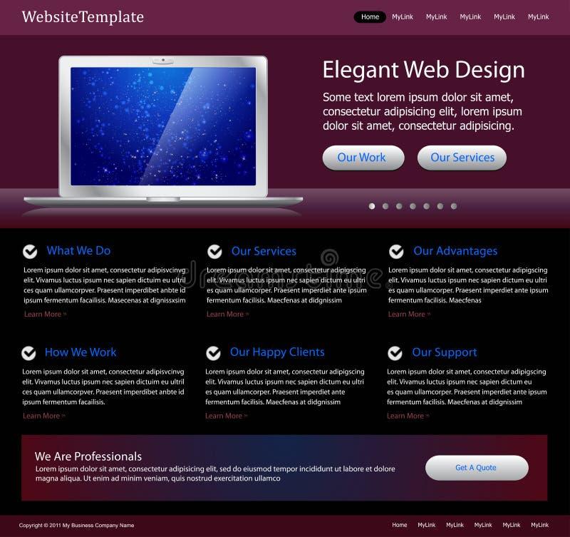 szablon purpurowa elegancka strona internetowa ilustracji