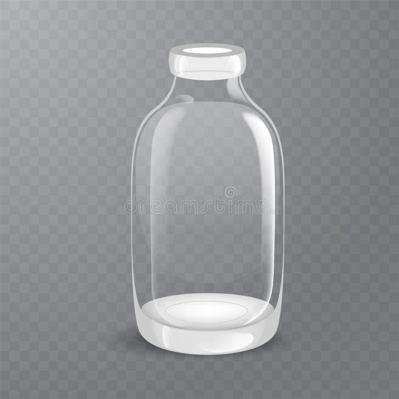 Szablon pusta wysoka przejrzysta szklana butelka, wypełniający z destylującym wodnym lub solankowym rozwiązaniem Pakować kolekcję ilustracja wektor