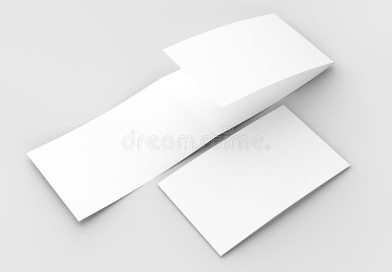 Szablon pustego miejsca trzy fałd horyzontalny - krajobrazowy broszurki moc ilustracji