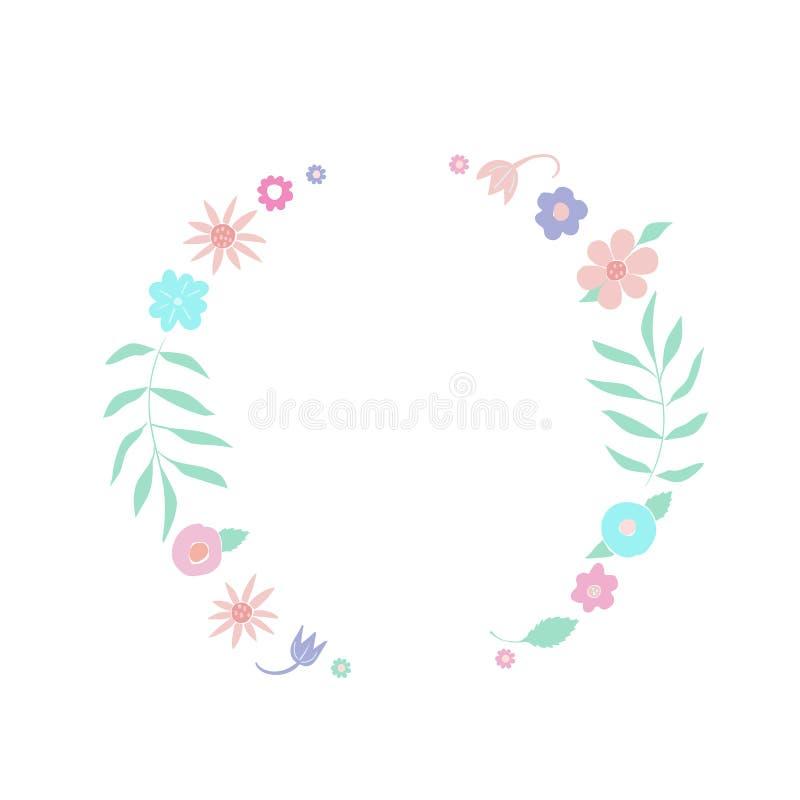 Szablon ręka rysujący kwieciści wianki z liśćmi, kwiaty runda ramowy Kreatywnie dekoracyjni elementy Dla walentynek royalty ilustracja