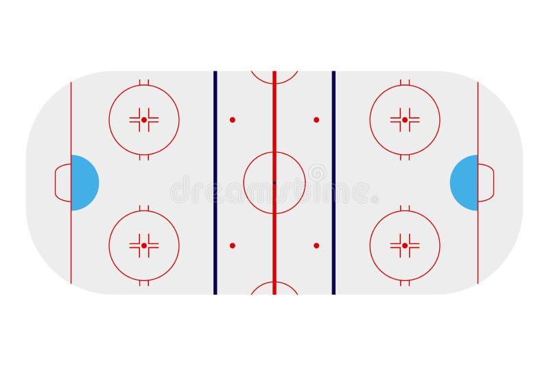 Szablon realistyczna hokejowa arena z liniami i bramami Wektorowa bolączka ilustracji