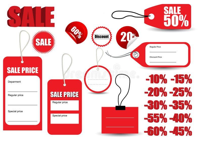 Szablon sprzedaży etykietki czerwony symbol ilustracji