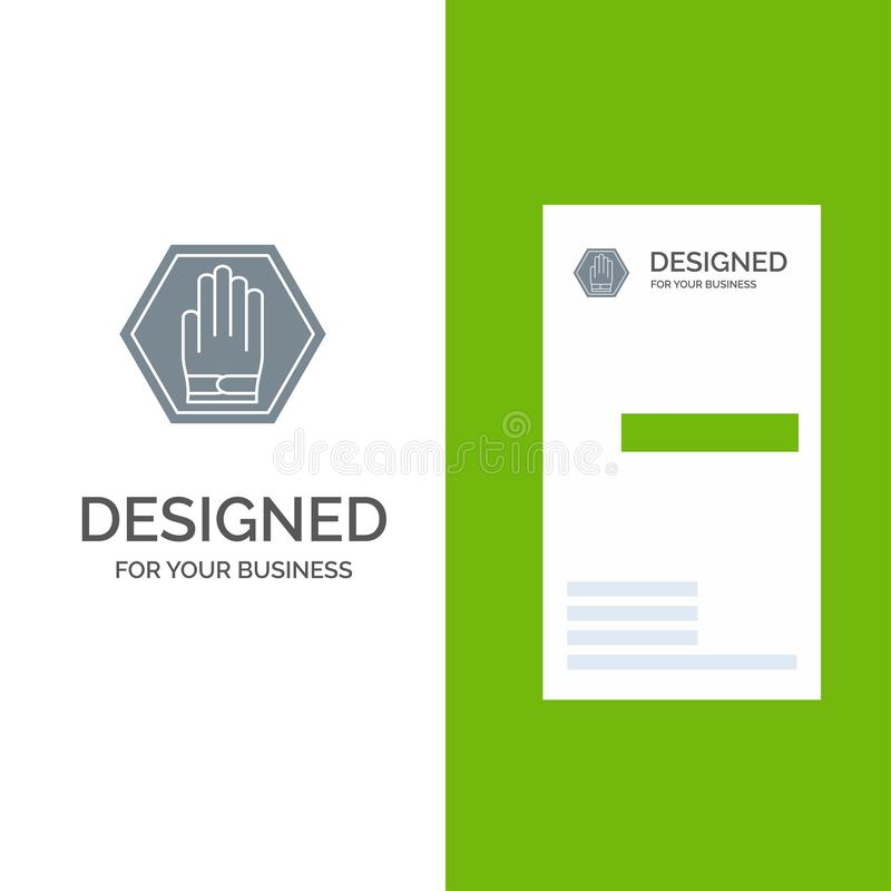 Szablon: Stop, Hand, Sign, Traffic, Warning Grey Logo Design and Business Card royalty ilustracja