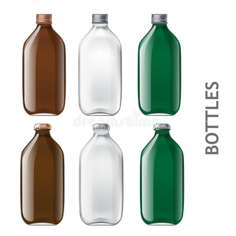 Szablon szklane butelki ilustracja wektor
