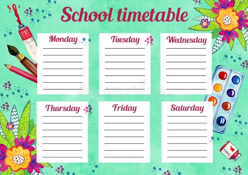Szablon szkolny rozkład zajęć z dniami tydzień i bezpłatne przestrzenie dla notatek Ręka rysująca akwareli ilustracja z szkół dos royalty ilustracja