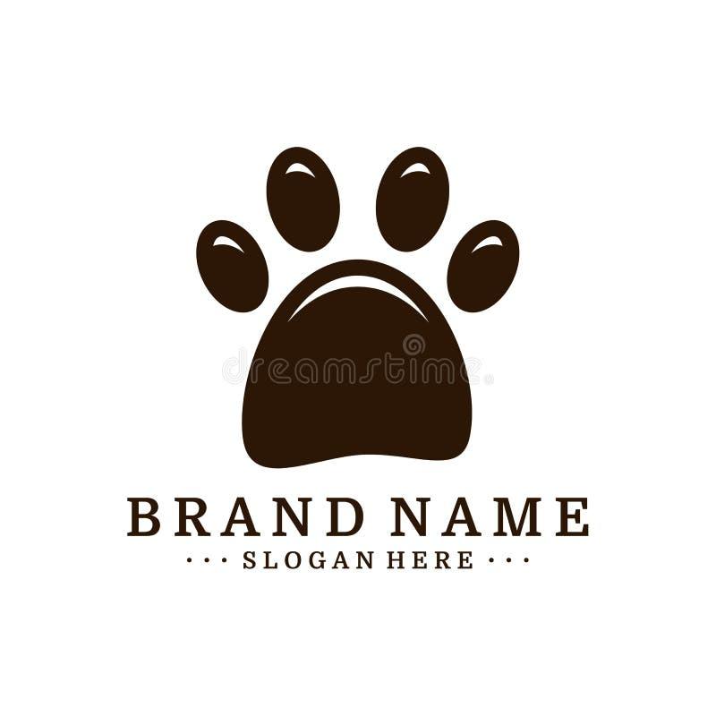 Szablon wektora projektowania logo stopki psa Wektor logo ikony psa ilustracji