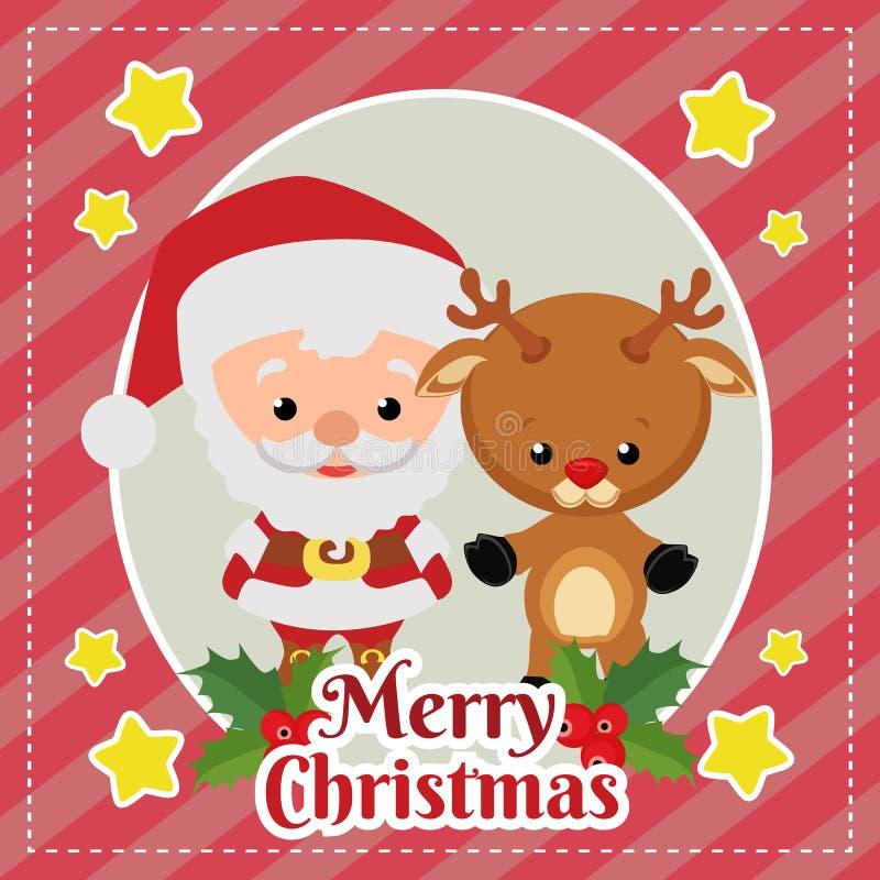 Szablon wesoło kartka bożonarodzeniowa z Santa Claus i renifer ilustracji