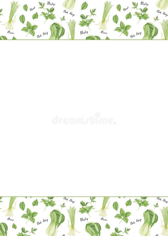 Szablon zieleni warzywa z literowaniem: cebula, pietruszka, basil i bok choy, akwarela obraz ilustracja wektor