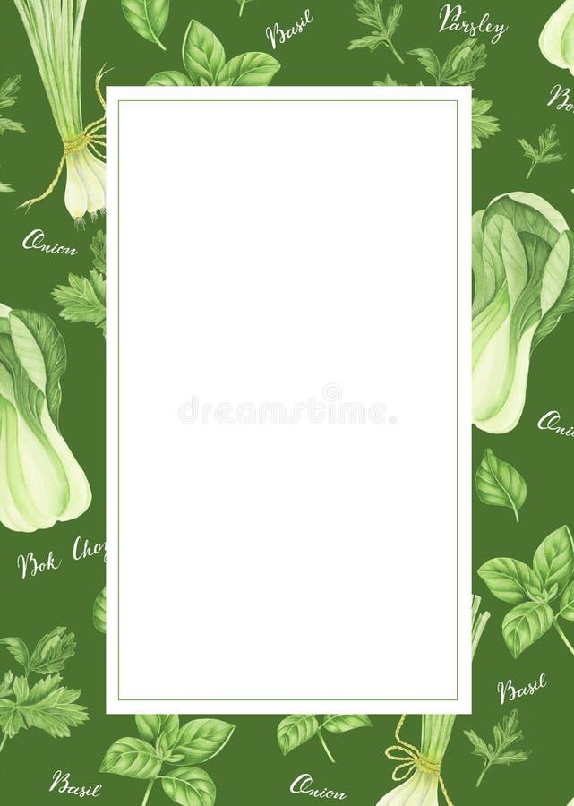 Szablon zieleni warzywa z literowaniem: cebula, pietruszka, basil i bok choy, akwarela obraz ilustracji