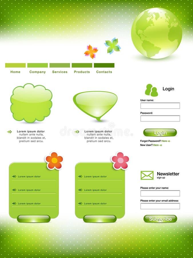 szablon zielona strona internetowa ilustracji