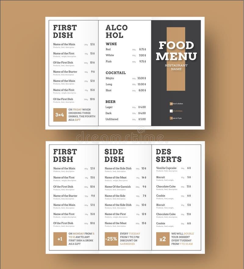 Szablonu biały wektorowy trifold menu z czarnymi okładkowych i brązu elementami royalty ilustracja