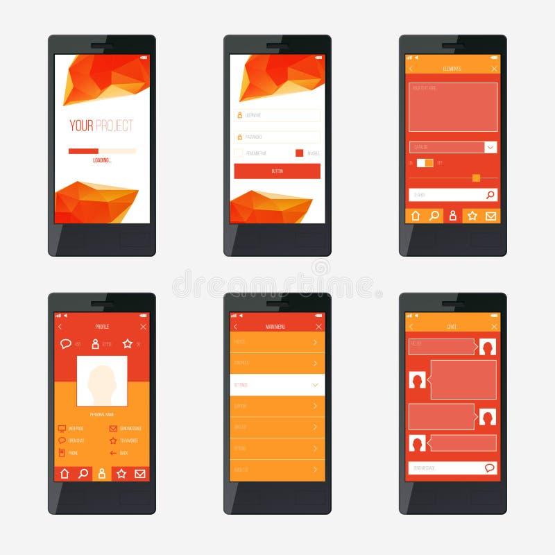 Szablonu interfejsu mobilny podaniowy projekt royalty ilustracja