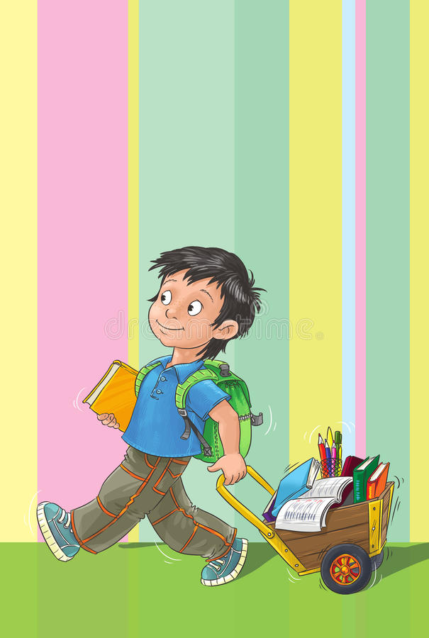 Szablonu kartka z pozdrowieniami z uczniem. ilustracji