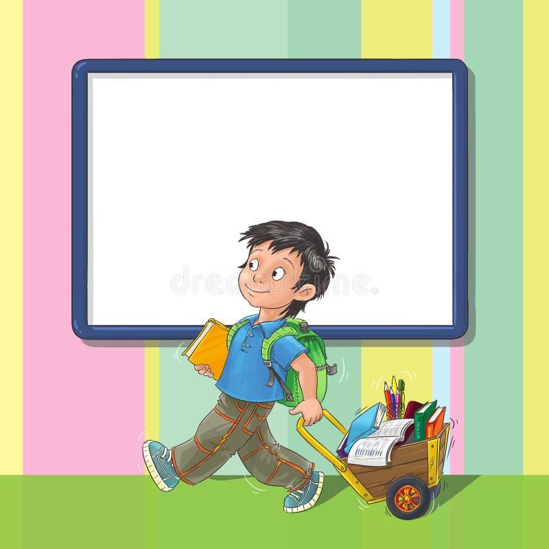Szablonu kartka z pozdrowieniami z uczniem ilustracja wektor