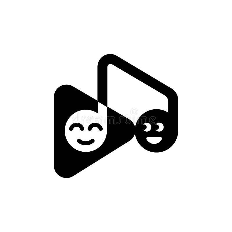 Szablonu loga muzykalna notatka i sztuka zapinamy z śmiesznymi emoticons ilustracji
