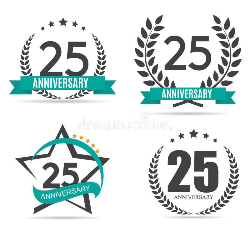 Szablonu logo 25 rok Rocznicowej Wektorowej ilustraci royalty ilustracja