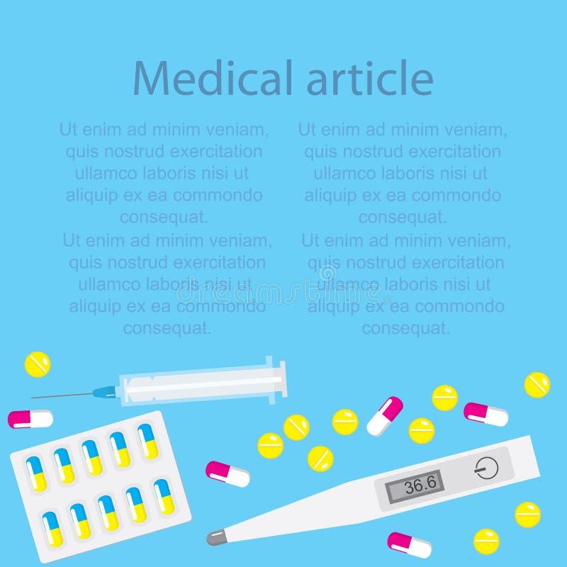 Szablonu medyczny artykuł na błękitnym tle z pigułkami i kapsułami z termometrem i strzykawką ilustracja wektor