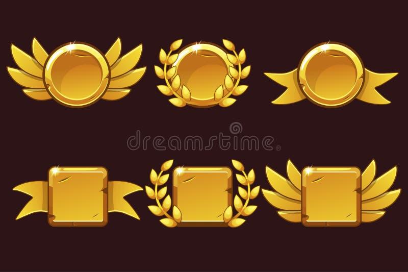 Szablonu Odbiorczy gemowy osiągnięcie Wektorowa ilustracja z Złotymi starymi nagrodami Dla gry, interfejs u?ytkownika, sztandar royalty ilustracja