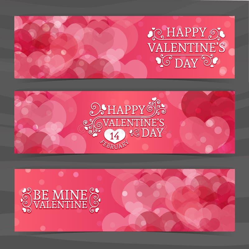 Szablonu projekt horyzontalni różowi sztandary, broszurki, talony z wzorem serca Dobry dla walentynka dnia royalty ilustracja