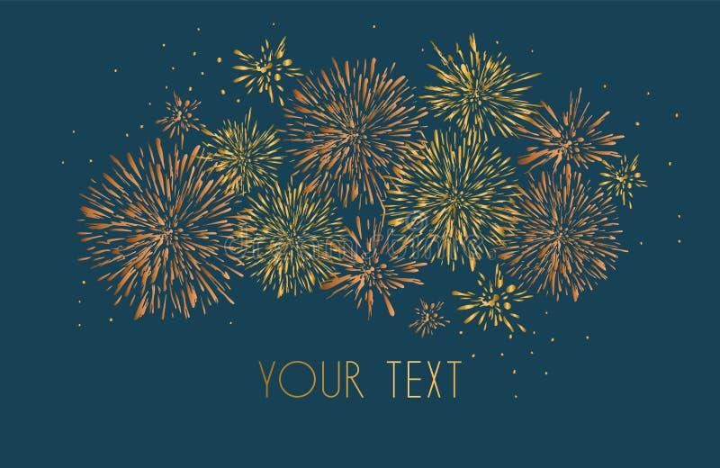 Szablonu projekt zaproszenie z złocistymi fajerwerkami Świąteczne projekt pocztówki, zaproszenia, broszurki, pokrywa, granica Ele royalty ilustracja