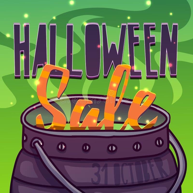 Szablonu projekta kartka z pozdrowieniami, ulotka, plakat dla Szczęśliwej Halloween rabata oferty Wystrój z czarownica napojem mi royalty ilustracja