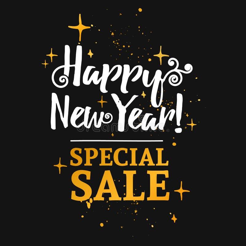Szablonu projekta sztandar dla Bożenarodzeniowych sprzedaży Szczęśliwego nowego roku specjalna oferta przy rabatem ilustracja wektor