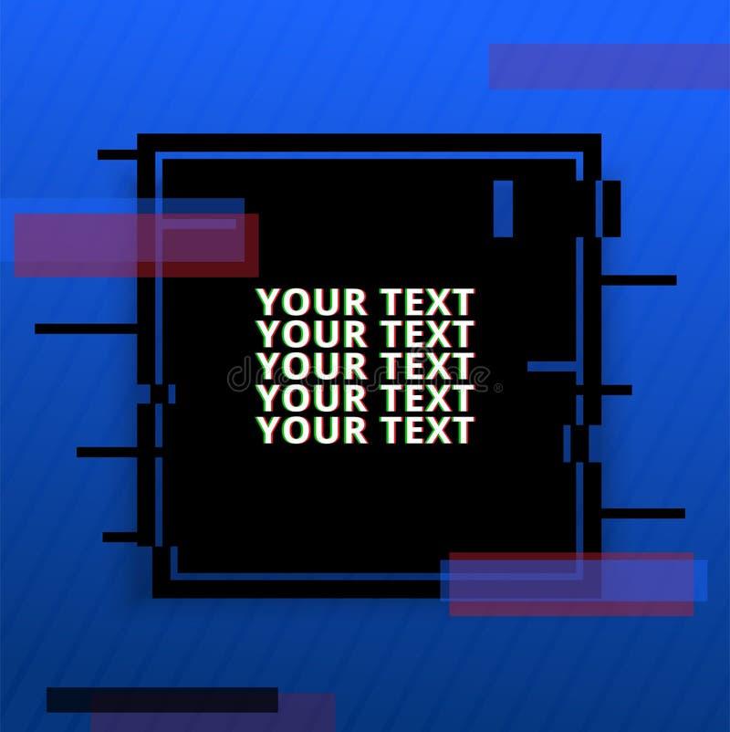 Szablonu projekta sztandar z usterka skutkiem Wektor zniekształcająca tło tekstura Cyfrowego wektorowy układ ilustracja wektor