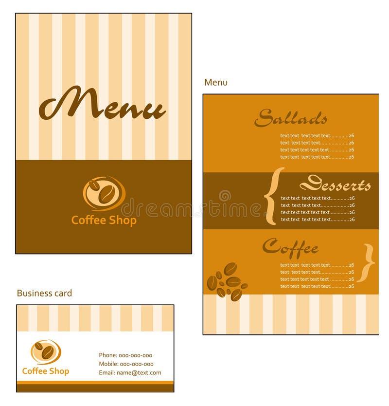 Szablonu projekty menu i wizytówka dla cof ilustracja wektor
