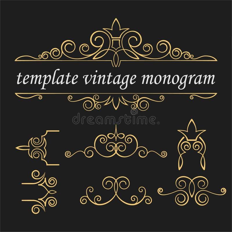 Szablonu rocznika elementy na czarnym tle tła koloru ciemna dekoracyjna ramowa złocista czerwień Przetkany rocznika ornament royalty ilustracja
