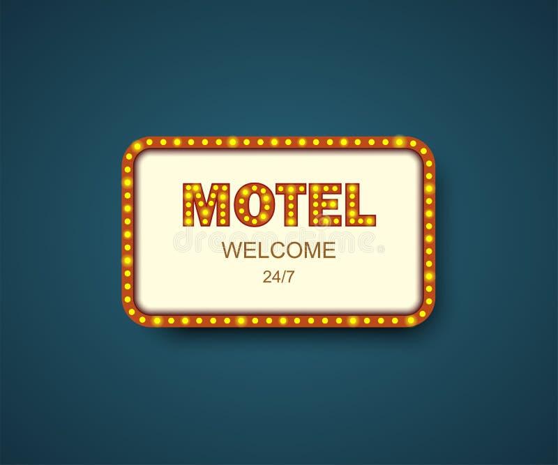 Szablonu signboard motel z cieniem budynku fabryczny historyczny hotelu znaka styl Motel pudełkowata rama dla reklam Sztandar, bi ilustracja wektor