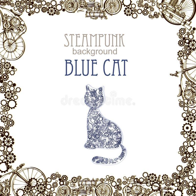 Szablonu steampunk projekt dla karty z abstrakcjonistycznym kotem Ramowy steampunk t?o niebieski kot ilustracji