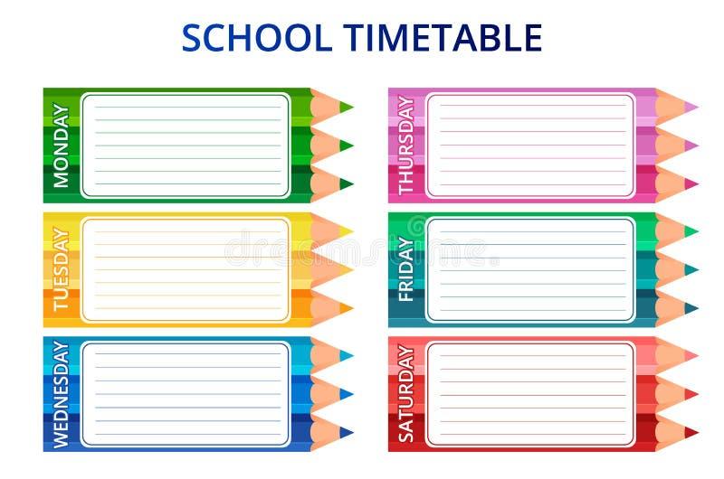 Szablonu szkolny rozkład zajęć dla, bezpłatne przestrzenie dla notatek i również zwrócić corel ilustracji wektora royalty ilustracja