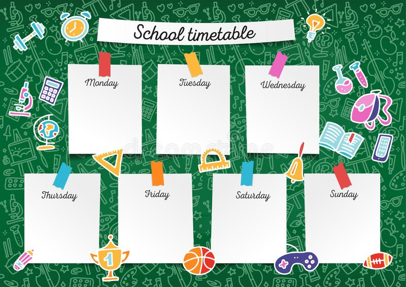 Szablonu szkolny rozkład zajęć dla uczni i uczni Wektorowa kolorowa kreskowa ilustracja zawiera wiele ręka rysujących elementy sz ilustracji