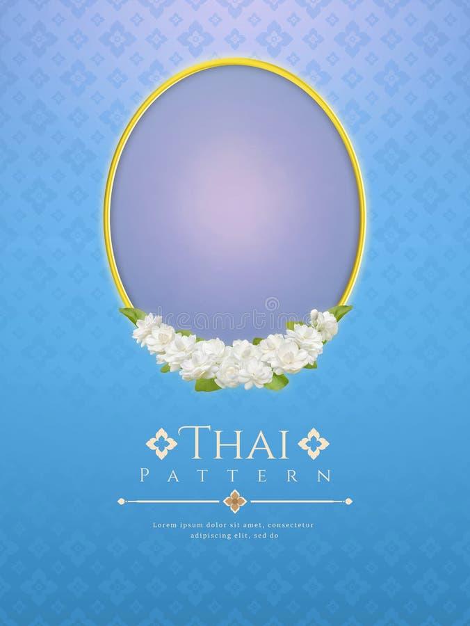 Szablonu tło dla matka dnia Thailand z nowożytnym kreskowym Tajlandzkim deseniowym tradycyjnym pojęciem i ramowym pięknym Jaśmino fotografia stock