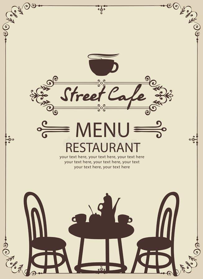 Szablonu uliczny cukierniany menu z stołem dla dwa royalty ilustracja