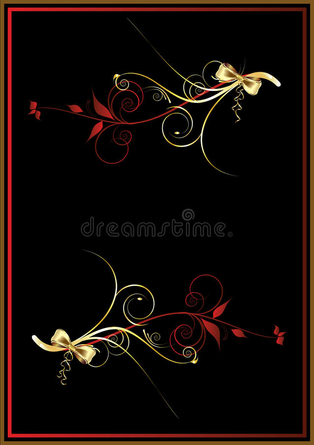 Download Szablonu złoty rocznik ilustracja wektor. Ilustracja złożonej z kędzior - 13333319