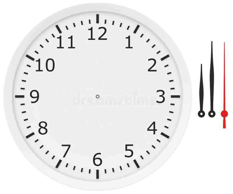 Szablonu zegar z strzała i liczbami odizolowywającymi dalej royalty ilustracja