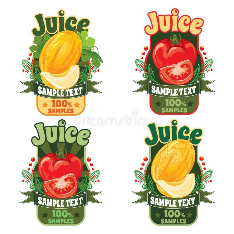 Szablony dla etykietek sok od melonu i pomidoru fotografia stock