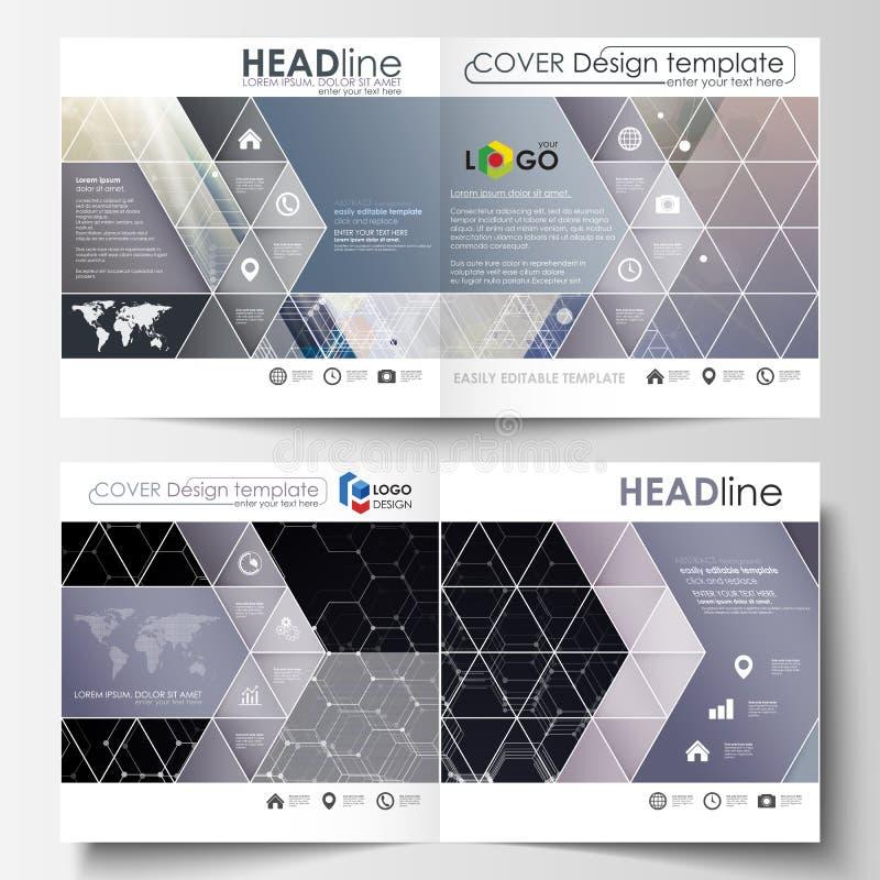 Szablony dla kwadratowego projekta bi składają broszurkę, magazyn, ulotka Ulotki pokrywa, łatwy editable wektorowy układ Chemia royalty ilustracja