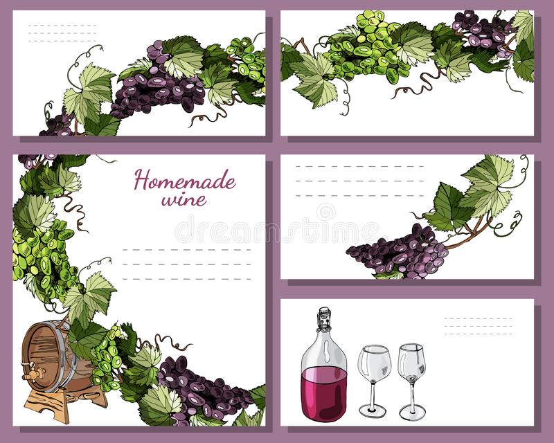 Szablony dla menu, zaproszenia lub etykietek z, wino produktu elementami i gałązkami winogrono Ręka rysujący nakreślenie ilustracja wektor