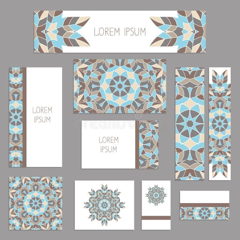 Szablony dla powitania i wizytówki, broszurki, pokrywy z kwiecistymi motywami Orientała wzór mandala royalty ilustracja