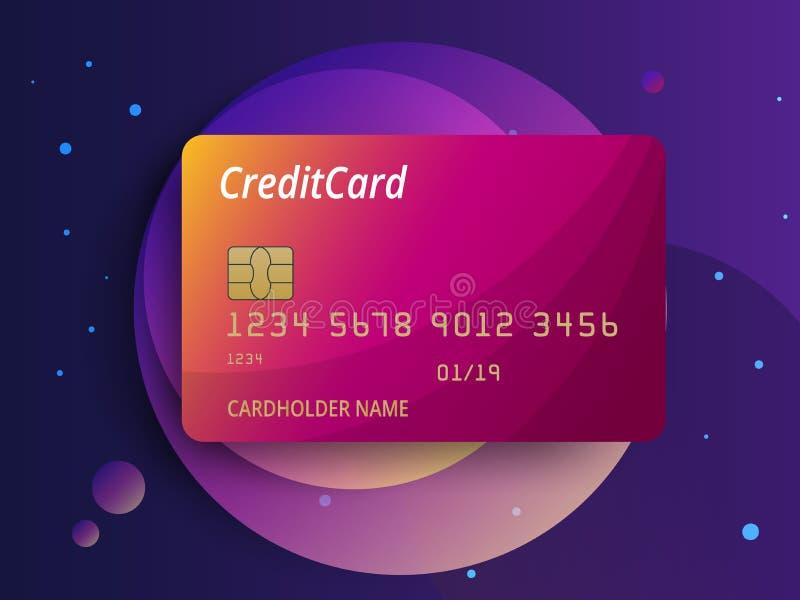 Szablony kredytowych kart projekt Wektorowa plastikowa kredytowa karta lub karta debetowa ilustracja wektor