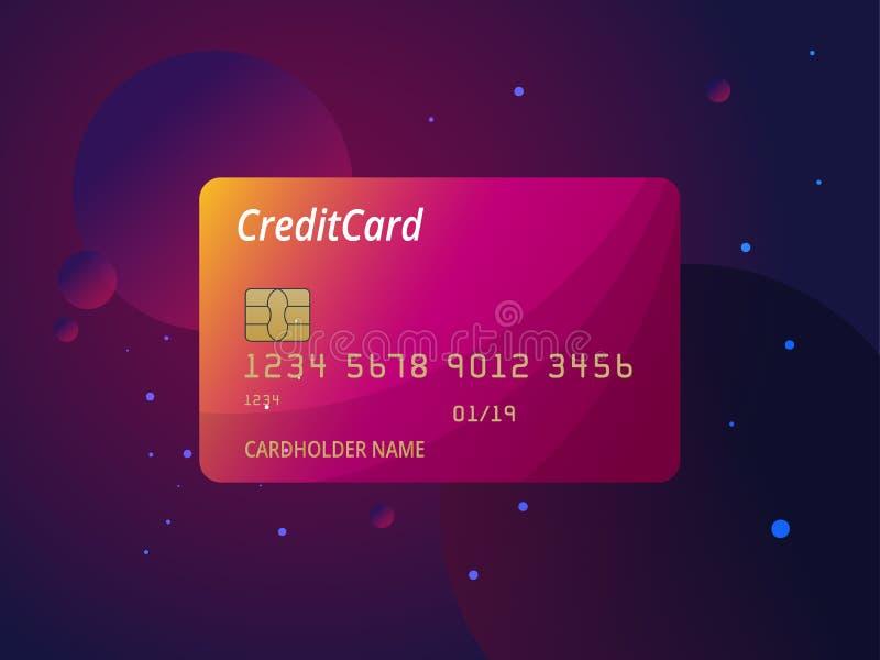 Szablony kredytowych kart projekt Wektorowa plastikowa kredytowa karta lub karta debetowa ilustracji