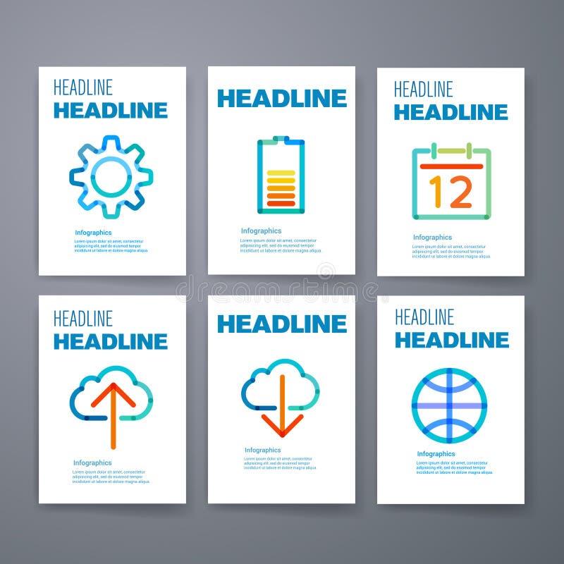 szablony Projekta set sieć, poczta, broszurki royalty ilustracja