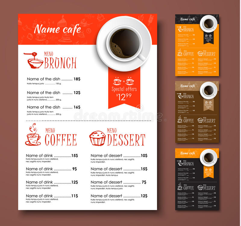 Szablony różnych kolorów kawowy menu z ręka rysunkami ilustracji