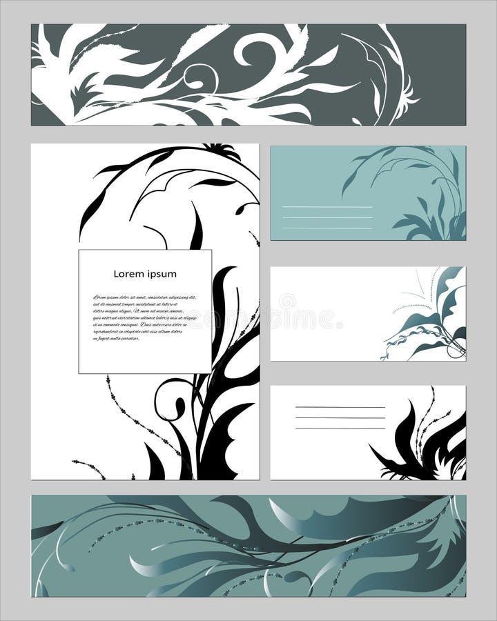 Szablony z abstrakcjonistycznymi elementami dla oznakować i tożsamości Set tekst wizytówki i ramy Dla nowożytnego projekta, rekla ilustracja wektor